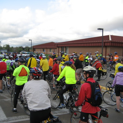 Cabin Fever Challenge--cyclists turnout in support of trail project.